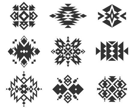 Ornements indiens tribaux. Motifs géométriques monochromes ethniques. Ensemble de style natif de vecteur de broderie textile traditionnelle aztèque, amérindienne et navajo