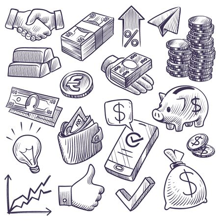 Croquis d'argent et de banque. Billets et pièces en dollars, tirelire et graphique d'entreprise, barre d'or et symboles de poignée de main. Investissement doodle vecteur économie financière définie Vecteurs