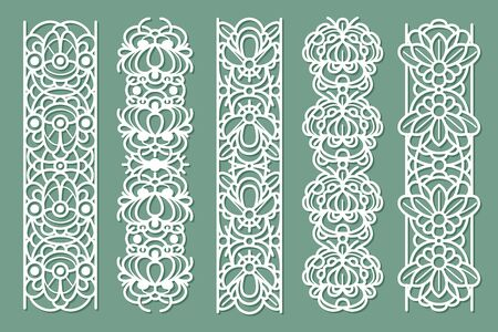 Lace borders. Seamless ornamental panels with floral pattern, cotton lace frames, decorative stripe with vintage ornate ornament vector abstract fabric ribbon set