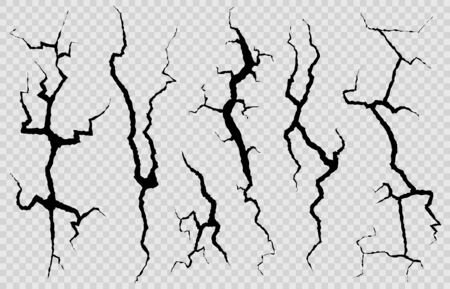 Wall cracks. Surface fracture structure, cleft broken dry lining wall or destroyed cracked glass, earthquake destruction vector cracking isolated abstract set