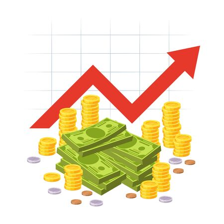 Cartoon savings value growth. Money profit with red rising up graph arrow and cash pile. Economic growth business investment vector profitability diagram concept