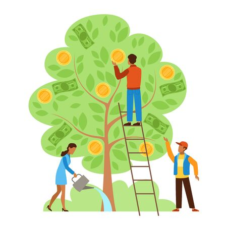 Money tree. Characters picking cash from money tree, income growing metaphor, investors strategy profitable startup business vector success investment concept