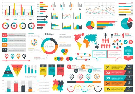 Infographics charts. Financial analysis data graphs and diagram, marketing statistic workflow modern business presentation elements vector investment progress icon set