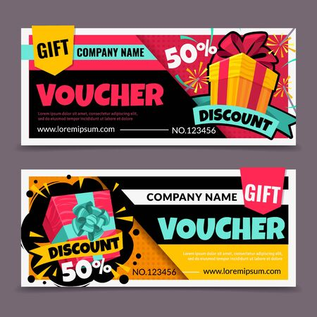 Gift vouchers. Marketing business flyer, promotion birthday certificate, christmas gift tickets design, shopping reward coupon vector colorful sale symbol mockup