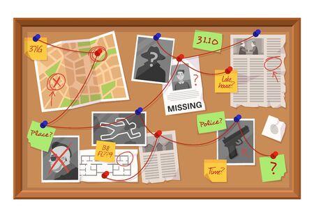 Commissione investigativa. Tabella dei collegamenti delle prove del crimine, giornale appuntato e foto. Schema di ricerca sul piano di lavoro del vettore del fumetto del bordo del detective del concetto di rilevamento