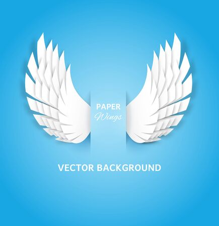Paper wings. White feathers decoration of heaven bird, layered paper cut angel wings. Greeting card with handmade origami vector magic dream artificial background 向量圖像