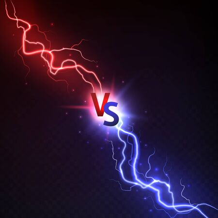 Vs lightning. Thunderstorms and shining lightnings powerful collision with vs symbol. Sport logo match and game, versus vector electric bright light concept in darkness