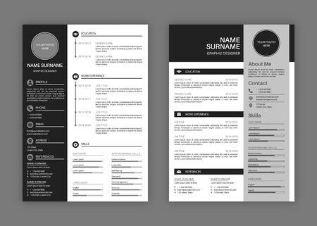 Plantillas de CV. Currículum vitae profesional con membrete, carta de presentación, aplicaciones de trabajo de diseño comercial, descripción personal vector de perfil elegante conjunto de presentación moderna Ilustración de vector
