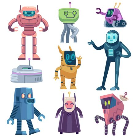 Robot. Transformer robots, modern technology android assistant. Friendly futuristic devices cartoon vector electric and mechanical machine characters