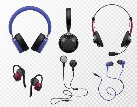Music earphones. Various types realistic earbuds, wireless headset and portable in ear headphones, sound gadget accessories, 3d vector digital modern equipment set 向量圖像