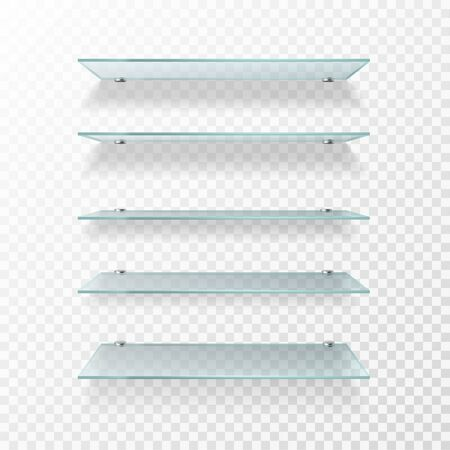 Glass shelves. Transparent wall product display, empty store shelving. Glass showcase isolated vector exhibition bookshelf or promotion realistic shelf set 일러스트