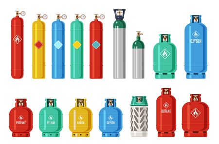 Gas cylinders. Lpg propane container, oxygen gas cylinder and canister. Fuel storage liquefied compressed gas high pressure vector camping equipment set Иллюстрация