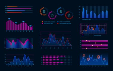 Hud infographics. Futuristic infographic diagram for interface, digital screen with hologram optional graphic and workflow charts vector dashboard abstract colorful graph set