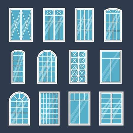 Window exterior. Various glass windows frame types, construction sashes design, modern architecture house interior, flat vector white shopfront or house front element collection Иллюстрация