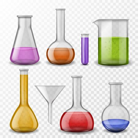 Chemical background. Laboratory experiment chemical equipment glassware. Test tubes, glass flasks with color lab reagents vector pharmacy experience set Illustration