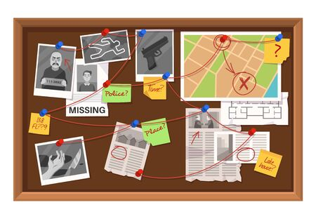 Detective board. Crime investigation in police department, connections chart with newspaper clippings, photos and planning map vector investigating concept Stock fotó - 136432809