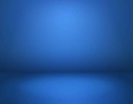 Fondo de estudio azul. Habitación azul vacía en perspectiva, taller moderno con piso espacial. Interior del anuncio, maqueta de vector abstracto de papel tapiz de sitio web Ilustración de vector