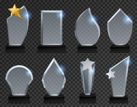Glass trophy. Acrylic transparent awards in various form, crystal plate on pedestal for sport and business winner. Plaque modern glossy isolated vector set