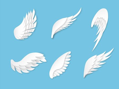 Paper wings. Artificial white different shapes wings decoration. Heraldic logo with bird feathers, decorative beauty origami flying angel vector concept