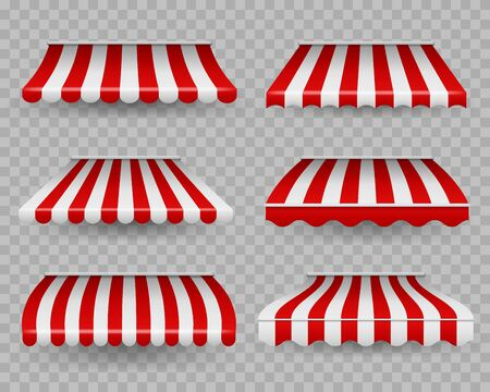 Awnings. Outdoor striped awning for cafe and shop windows of different forms, sunshade for restaurant, border tent design element vector marketplace canopy set