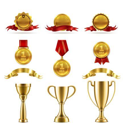 Sport- oder Spieltrophäenset. Goldene Belohnungsabzeichen und Auszeichnungspokale für das Erreichen des besten Erfolgsgewinners Vektorbewertungsnummer Medaillenbild