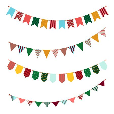 Bunting set. Party flags garland with ornament decor on streamers for festival event or celebrating of birthdays vector holiday banners