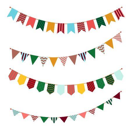 Juego de banderines. Guirnalda de banderas de fiesta con decoración de adornos en serpentinas para eventos festivos o celebración de cumpleaños pancartas navideñas vectoriales