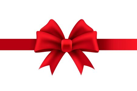 Gift bow. Red ribbon for present package decoration christmas or wedding holiday design isolated vector decorate template