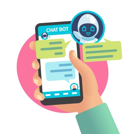 Chat bot chatting with man. Help service dialog, user chatting with robot on smartphone. Sms question and answer, online support vector messaging phone concept