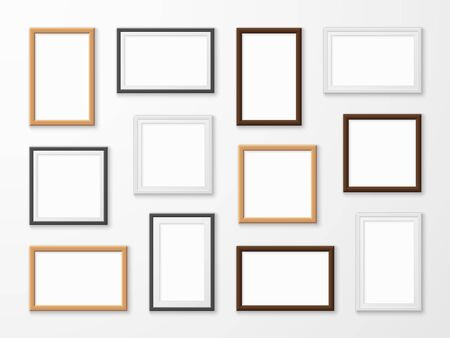 Realistic image frames. Picture frame in different colors, hanging blank pictures on gallery wall of modern interior lighting framing templates vector set 向量圖像