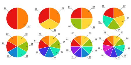 Circular diagrams. Segmented and multicolored pie charts, financial process planning with parts or steps, infographic graph vector charting progress elements Illustration
