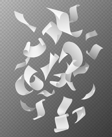Flying papers group. Chaotic falling and flying empty white paper sheets, scattered notes with curved pages corners realistic vector 3d document mockup