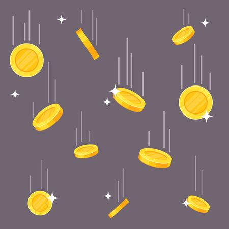 Falling coins. Money rain, flying dropping dollar and euro golden coins. Jackpot luck, income growth and business success vector financial symbol background
