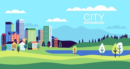 Simple landscape with buildings. Urban skyline residential houses, green trees and hill, summer cityscape banner, websites vector background with minimalism city and lake 向量圖像