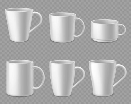 Coffee mugs. Realistic white ceramic mug mockup for espresso, cappuccino and tea, simple shape of porcelain cups, isolated 3d vector template of bowl and teacup