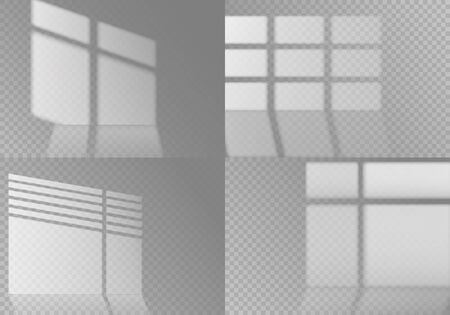 Overlay window shadows. White transparent sunlight from different windows on wall and floor surface. Isolated vector collection of indoor blind effects