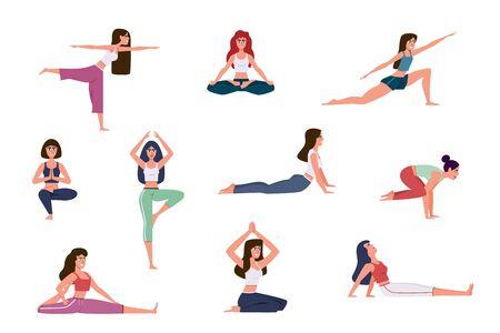 Personnages de yoga. Femmes faisant des exercices de yoga, s'échauffant et étirant diverses poses d'étirements, méditation en salle de sport. Caractères vectoriels de mode de vie sain Vecteurs