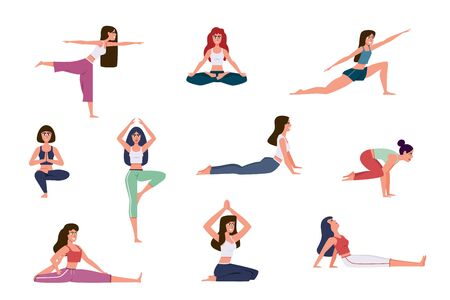 Yoga characters. Women doing yoga exercises, warming up and stretching various stretches poses, meditation in gym. Healthy lifestyle vector characters