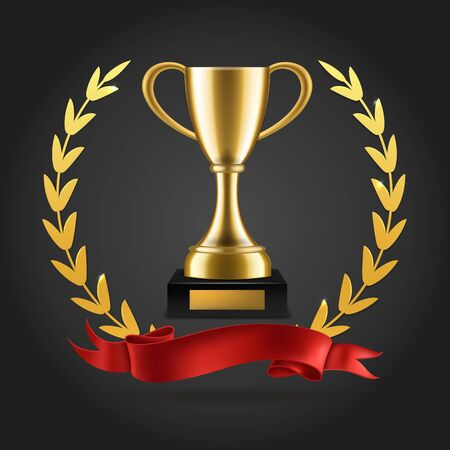 Gold laurels and trophy. Realistic winner 3d award emblem with ribbon and cup isolated vector golden luxury imperial background Archivio Fotografico - 136432815