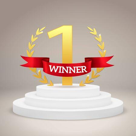 Premio del vincitore sul piedistallo della vittoria. Il primo posto miglior trofeo si trova sul poster del concetto di premiazione della cerimonia di presentazione del vettore del podio del campionato