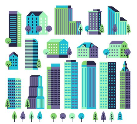 Minimal buildings. Buildings and skyscrapers, commercial offices for modern architectural landscape with trees. City vector geometric block constructor