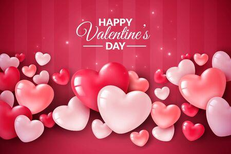 Corazones 3d del día de San Valentín. Bandera de amor lindo, tarjeta de felicitación romántica feliz día de San Valentín desea texto, globos de corazón rojo para el concepto de romance de vector de fiesta