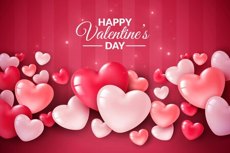 Valentines day 3d hearts. Cute love banner, romantic greeting card happy valentines day wishes text, red heart balloons for party vector romance concept
