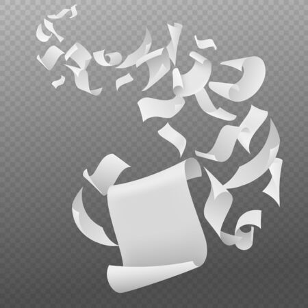 Flying papers. White blank sheets paper with bent corners, chaotic falling and flying empty scattered pages, realistic vector fall document concept 向量圖像