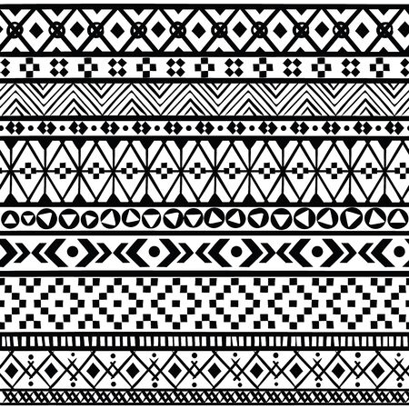 Black ethnic borders. Seamless ornaments mexican, american and aztec geometric patterns, black and white textile modern print vector set