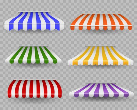Striped awnings. Colorful outdoor canopy for shop, restaurants and market store window of different forms, vintage striped vector sunshades and storefront tent in grocery