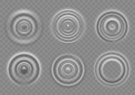 Ripple on water surface. Splash water impact top view, circle water ripples, liquid swirl effect with circular waves vector motion of drops texture 向量圖像