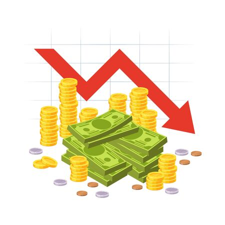 Money loss. Red down arrow stocks graph with cash pile. Financial crisis, investment expenses, economic depression vector bankruptcy business concept