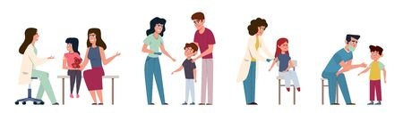 Kids vaccination. Childrens vaccinating medical immunization, pediatric doctor in hospital doing helpful injection, clinical healthcare vector concept