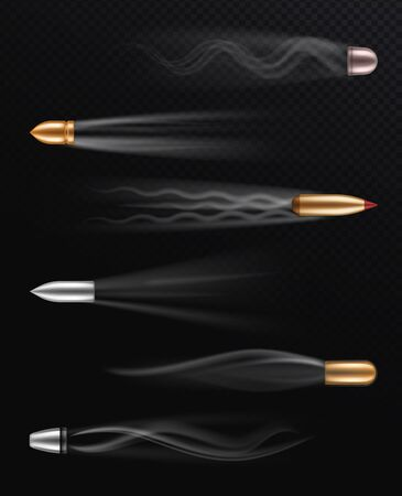Realistic flying bullet. Fired bullets in motion with smoke trace, shoot trails, dangerous shooting handgun firearm, metall projectiles vector abstract weapons defence set